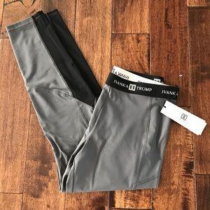NWT IVANKA TRUMP leggings Gray & Blk mesh  L